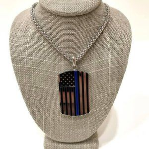 Thin Blue Line Chain with Pendant